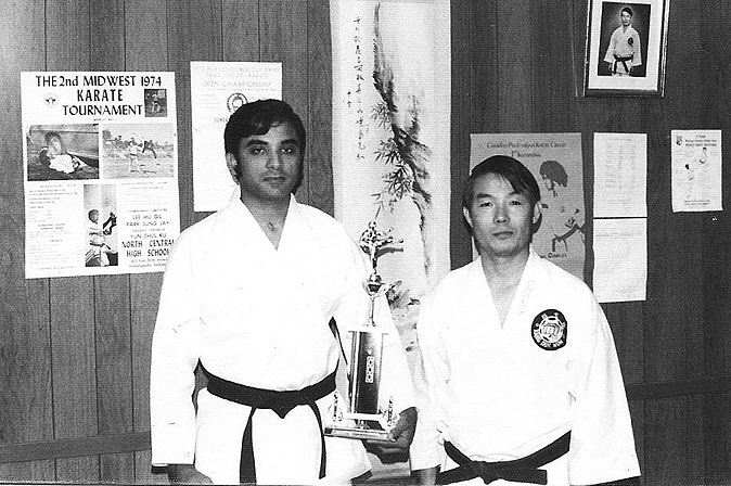 Master Saleem Jehangir with Grand Master Hwa Chong after winning a trophy in the 1974 Midwest Taekwondo Championships