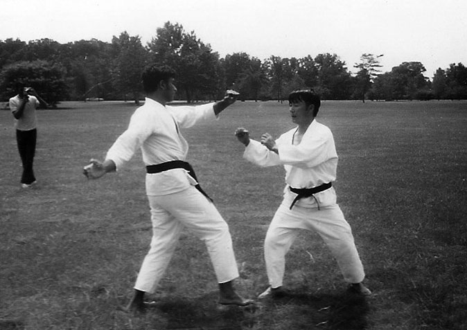 Master Saleem Jehangir (foreground at left) training with Grandmaster Chong sometime in the early 1970s.